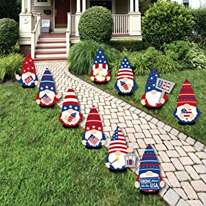 Patriotic Gnomes Lawn Decorations - Yard Signs
