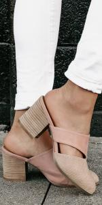 stacked backless sandals