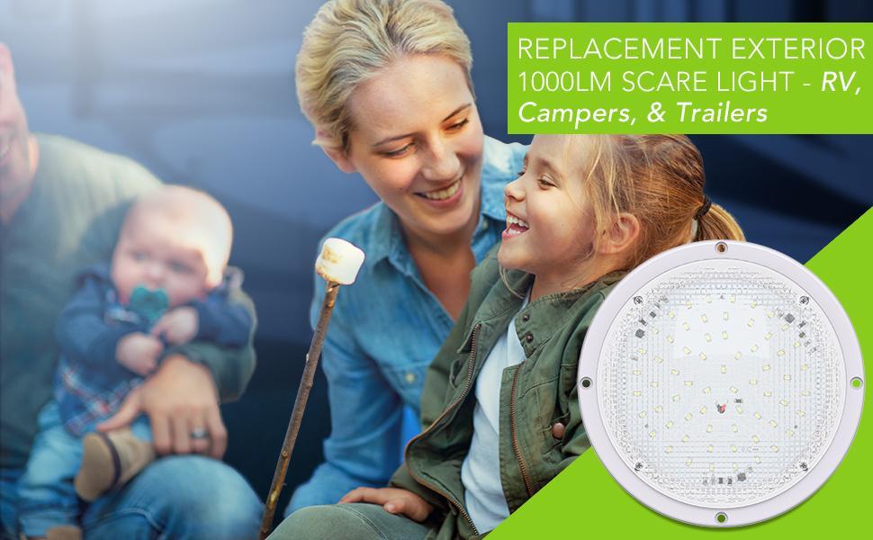 "Replacement LED RV Trailer Camper Exterior White 8.5"" Round Scare Light 1000 Lumen Extra Bright"