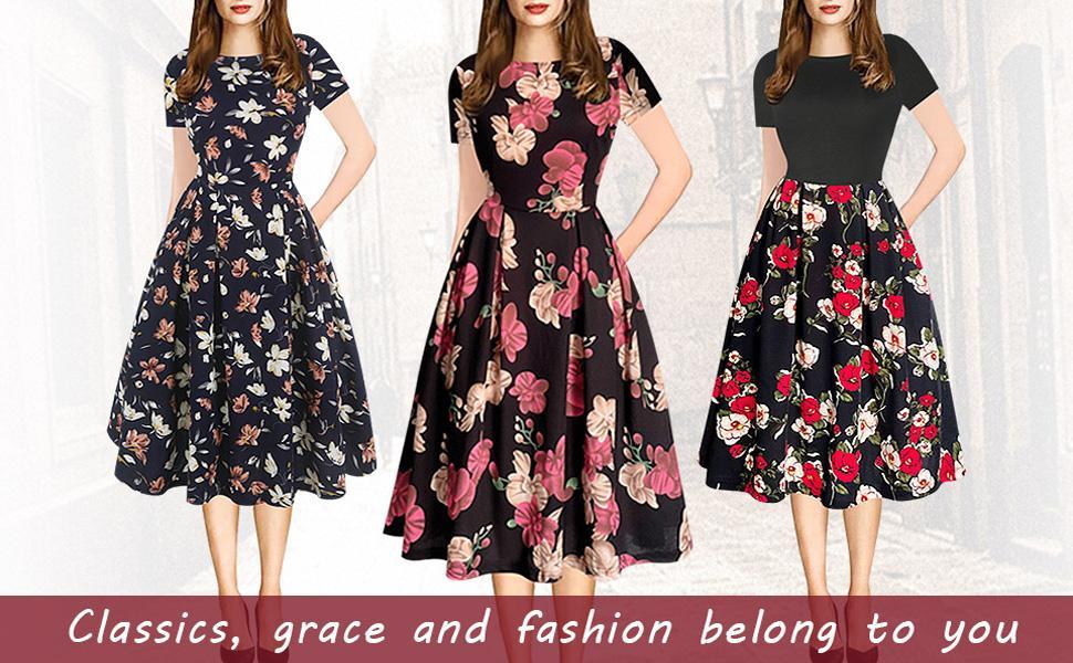 Vintage Dress women's vintage floral flare party cocktail swing dress elegant dresses for work OX165
