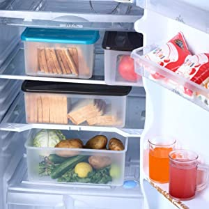 STORE REFRIGERATOR AND CUPBOARDS ORGANIZED