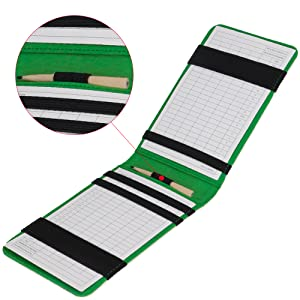 It has 6 bands to hold your scorecard, yardage book, hole location sheet, and  your pencil.