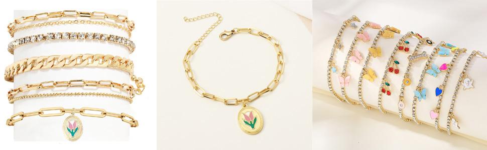 nanafast tulip flower ankle bracelets for women