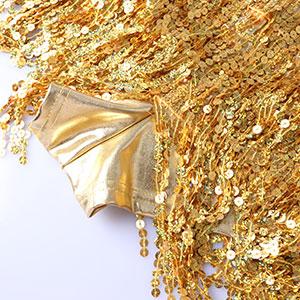 sparkly gold tassels