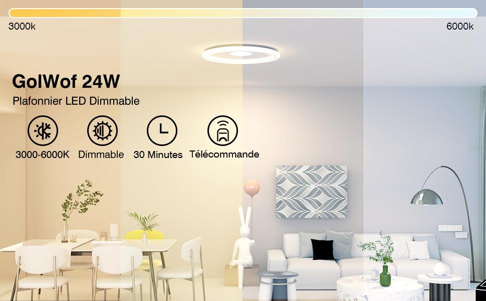 Plafonnier LED 24W GolWof Rond Lampe de Plafond
