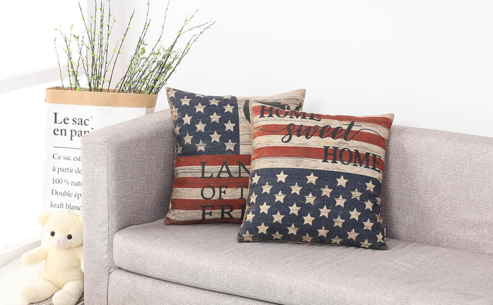 TRENDIN Vintage Independence Day Pillow Cover