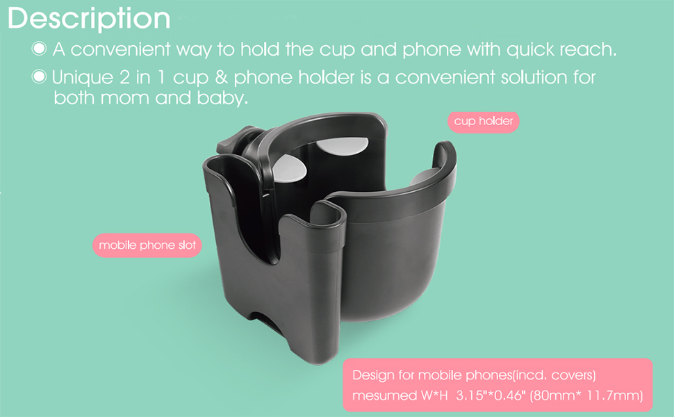 Stroller Cup Holder with Phone Organizer