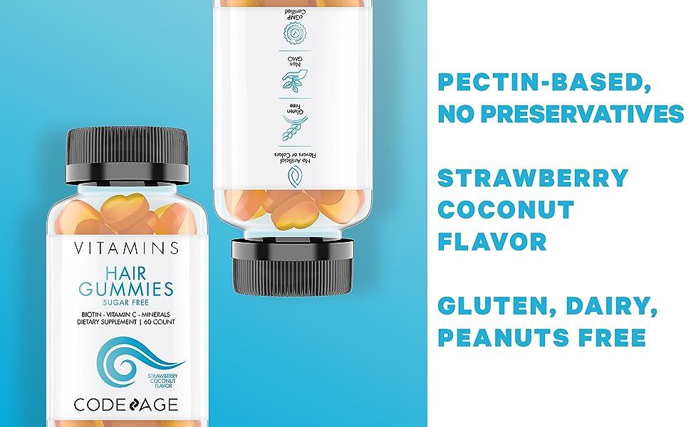 Codeage Hair Gummies Biotin Vitamin B12 Sugar Free