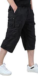 EKLENTSON Mens Casual Twill Elastic Cargo Shorts Below Knee Loose Fit Pockets Capri Long Shorts