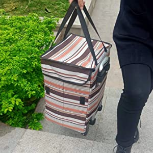 fineget foldable shopping trolley cart grocery rolling tote bag backpack straps 2 wheels