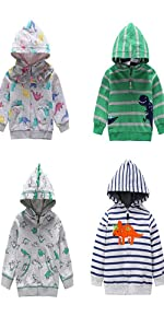 Dinosaur Zip Up Hooded Outwear
