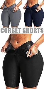 corset leggings biker shorts with waist trainer