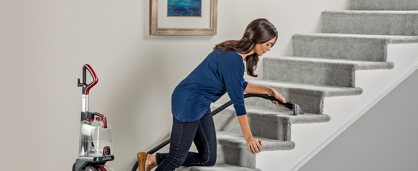 The hose and 2-in-1 pet tool extend your reach, allowing you to clean carpeted stairs with ease