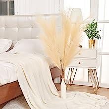 Cream Beige Pampas Grass beside the bed.