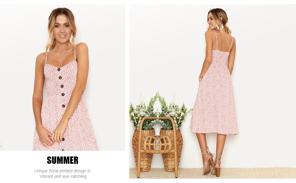 spaghetti strap dress, midi sundresses for women, casual dress with pockets, dress with buttons