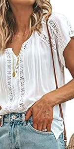 Women V Neck Lace Crochet Tops
