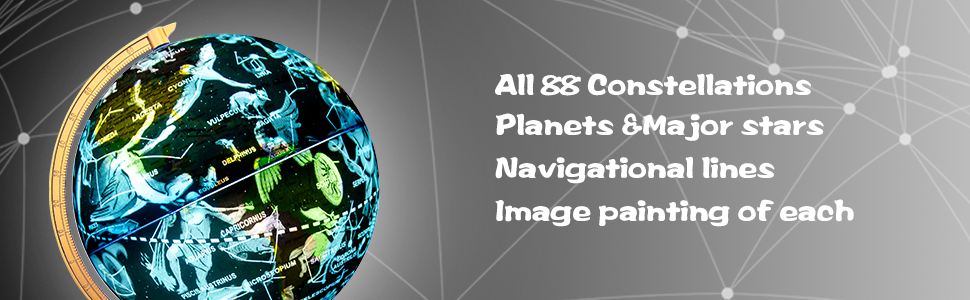 88 Constellations Planets amp; Major Stars Navigational lines lmage painting of each