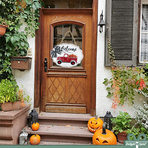 Halloween decorations for front door porch entryway wall