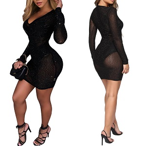 PORRCEY Women Long Sleeve Sexy Hot Drilling Process Sexy Dress Party Club Night Dress