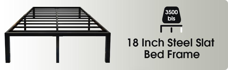 45MinST 18 Inch Reinforced Steel Slats Support Frame/Ultimate Storage/Easy Assembly/Noise Free