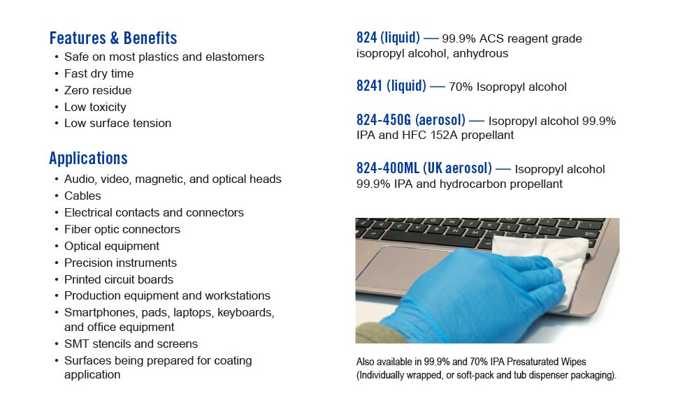 features and benefits, applications, liquid and aerosol