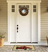 Merry Christmas truck doormat in front of porch