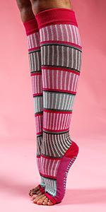 barre knee socks, half toe dance socks, dance socks with grips, toeless grip socks