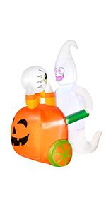 Inflatables Ghost Pushing Pumpkin Cart