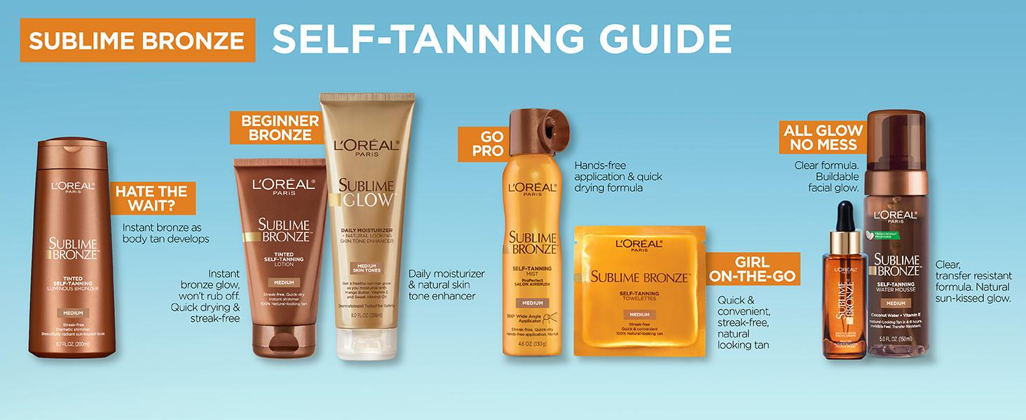 image of l'oreal sublime bronze self-tanning products