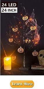 2FT Black Glitter Spooky Tree Light with 24 LED Orange Lights