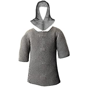 Mythrojan Half Sleeves Chainmail Shirt with Coif MS Butted - Zinc Plated Silver…