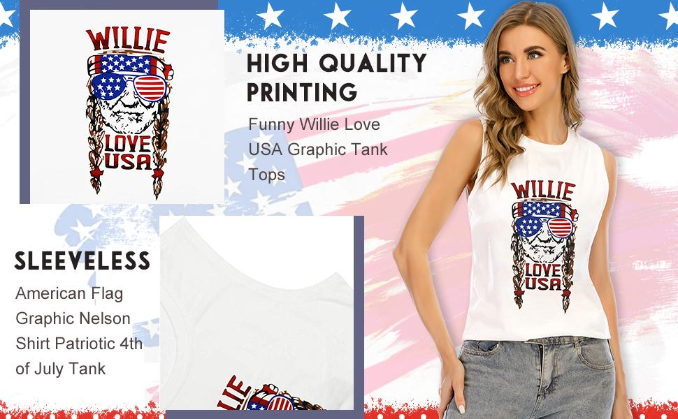 GEMLON Willie Love USA Tank Tops for Women American Flag Graphic Nelson Shirt Patriotic 4th of July Tank
