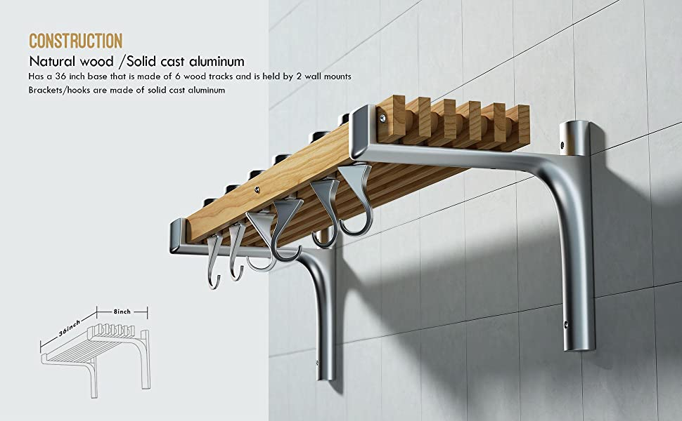 Wall Mounted Wooden Pot Rack-36inch-02