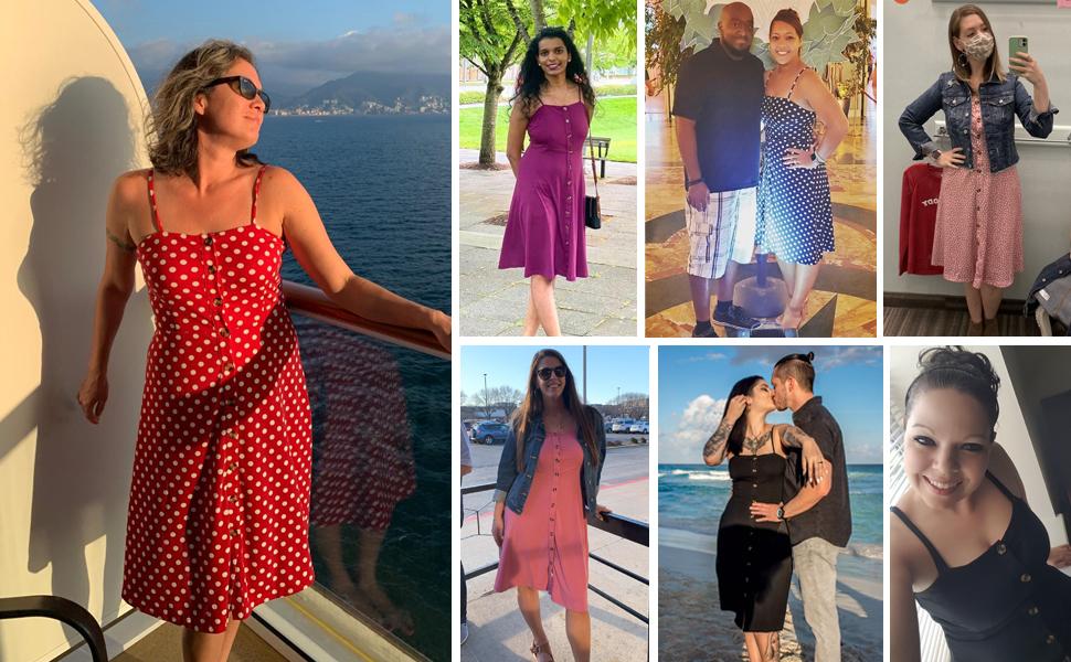 Summer Dresses for Women Spaghetti Strap Button Down Midi Sun Dresses Cotton Casual Party Dresses