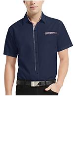 men contrast plaid dress shirt