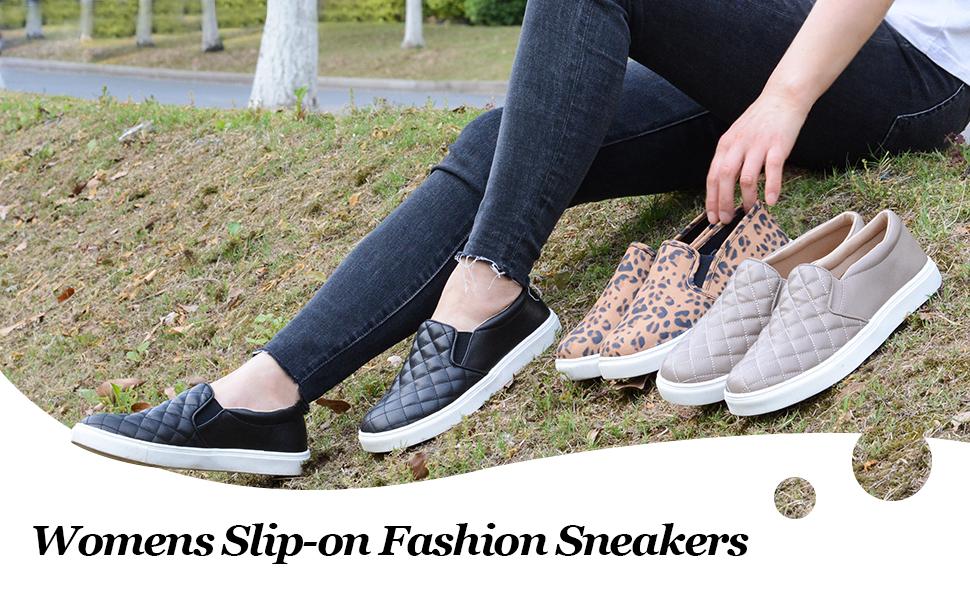 Womens Slip On Fashion Sneakers