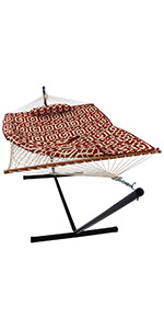 Sunnydaze Rope Hammock with 12-Foot Stand - Pad amp; Pillow - Royal Red