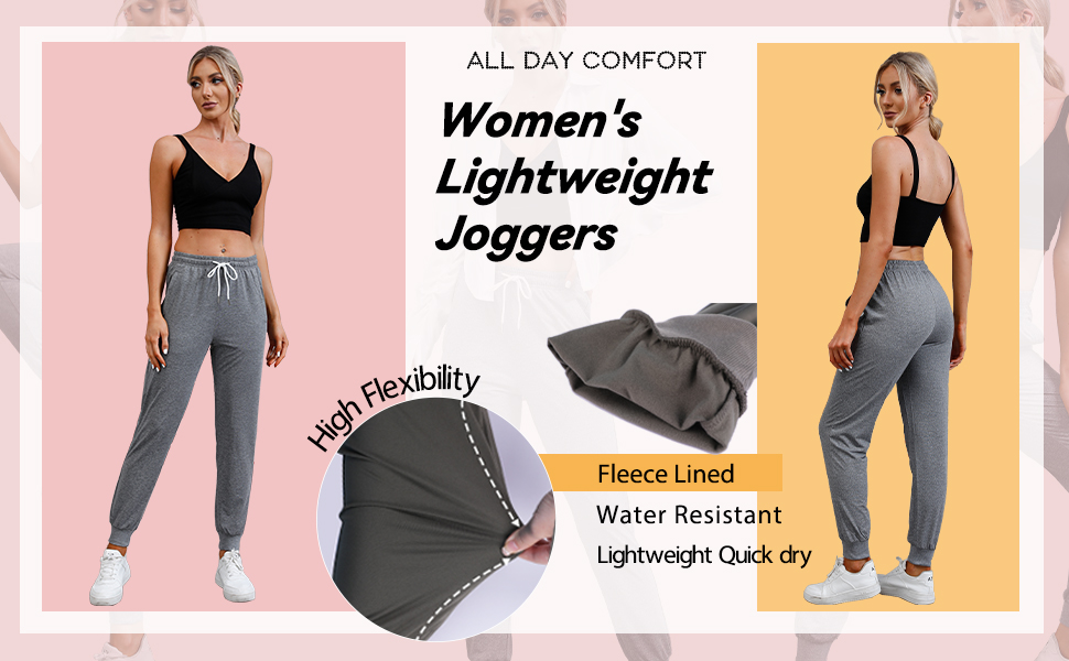 Joggers for Women with Zipper Pockets Casual Lounge Workout Quick Dry