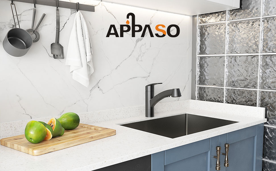 APPASO Modern Kitchen Faucet with Pull Out Sprayer, Matte Black Kitchen Sink Faucets