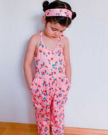 Toddler Girls Halter Jumpsuit + Headwear