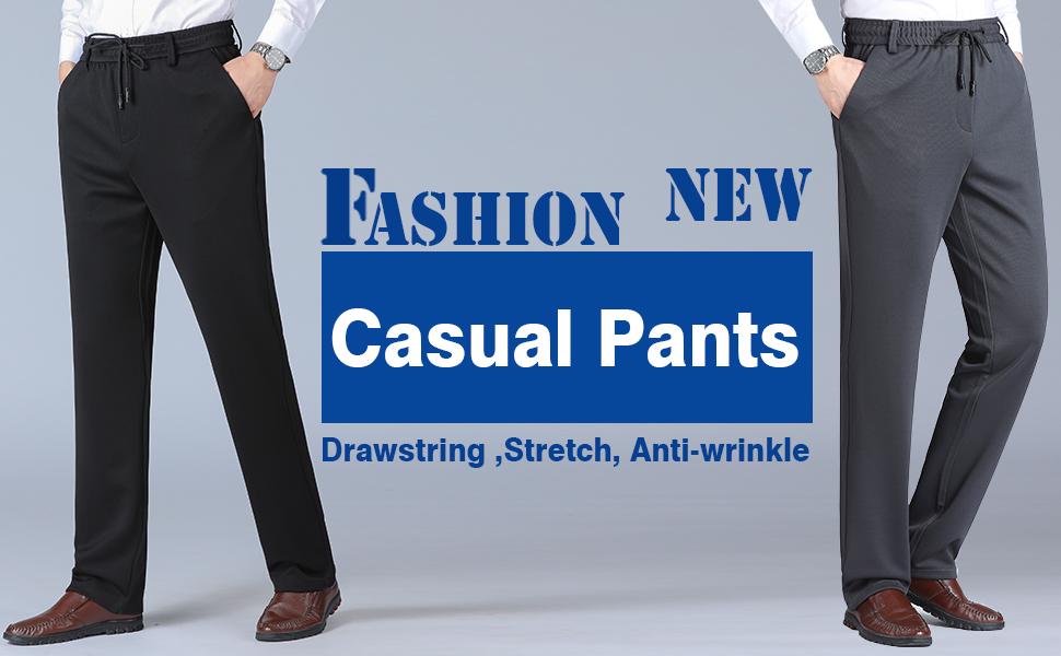 Mens Elastic Waist Casual Pants