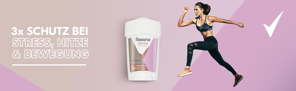 Rexona Maximum Protection Cremestick Confidence schützt bis zu 48 Stunden gegen Schweiss und Geruch