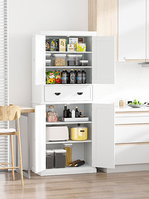 "72/"" Kitchen Pantry Food Cabinet Cupboard Storage Rack Organizer 4 Doors White"