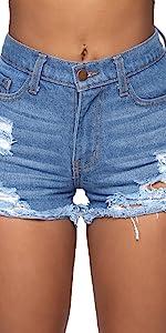 Blue Denim Shorts Hole short Jeans