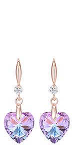 Jertom 14k gold copper heart crystal earrings