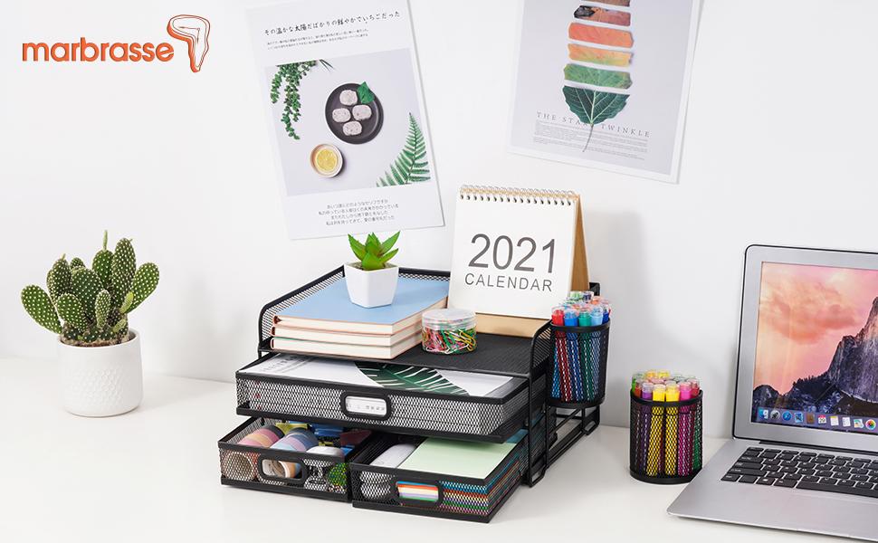 Mesh desk organizer with  drawer