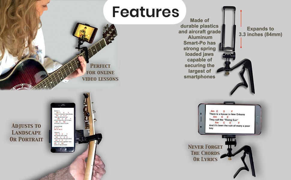 Smart-Po Capo Guitar phone holder guitar accessory phone clamp smartphone capo guitar lessons