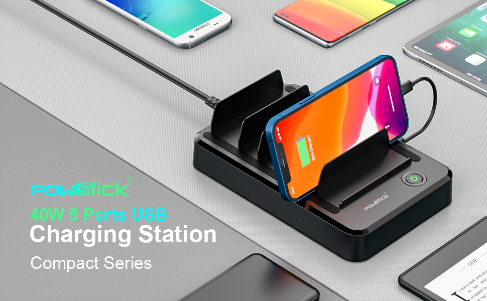 Powstick Charging station for multi devices iphone tablets kindle compact for apartment home office