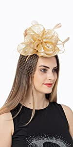 Fascinators Hat Organza Flower Mesh Feathers on a Headband and a Clip Tea Party Headwear