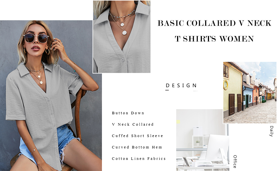 Womens Short Cuffed Sleeve Button Down Cotton Linen Shirt Blouse Loose Fit Casual V-Neck Tops